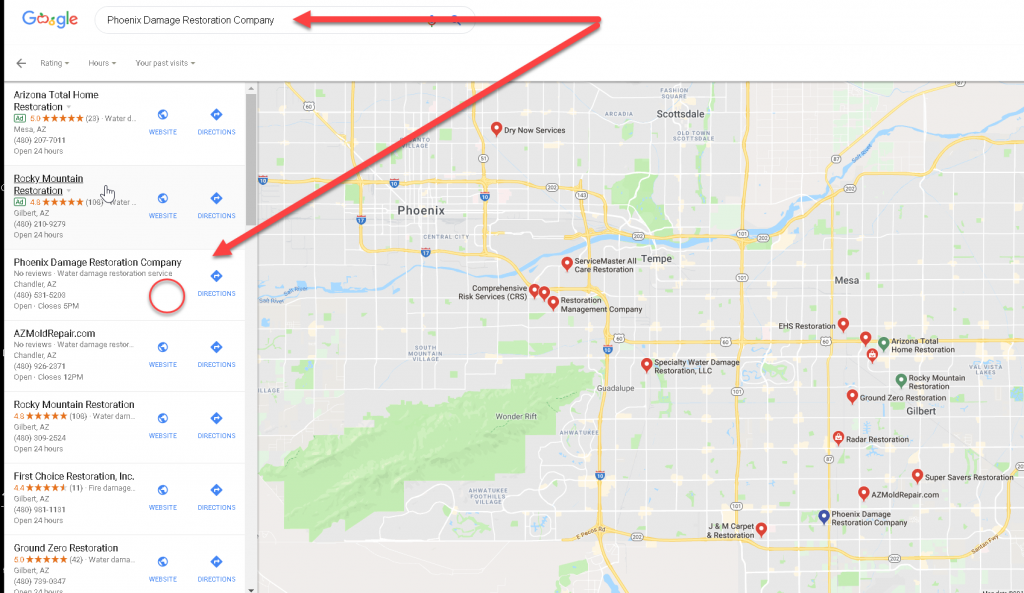 Having a link to your website in a google local map listing and having reviews help make your site stand out.