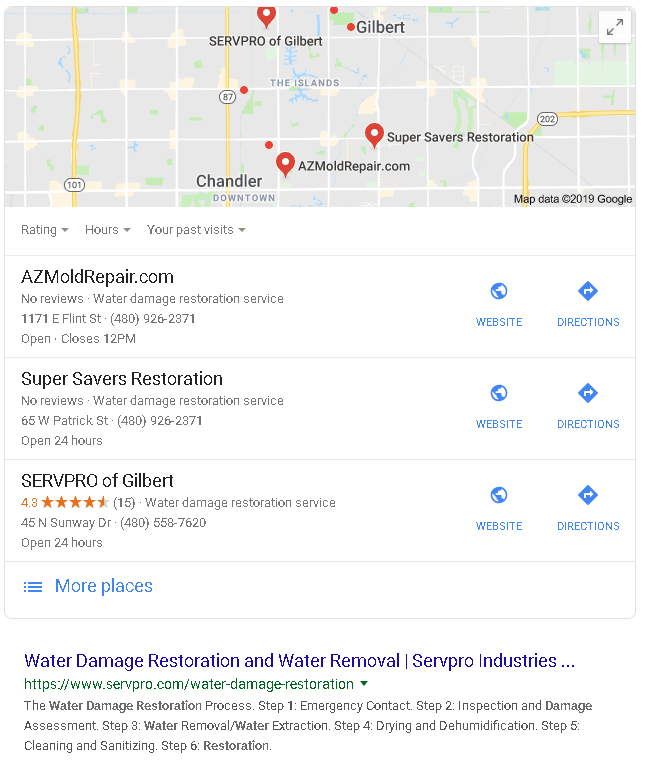 ServePro has 2 things going on for them. First, they are the only company showing on the map with ANY reviews and they also have the first listing below the map listings. This is the power of branding.